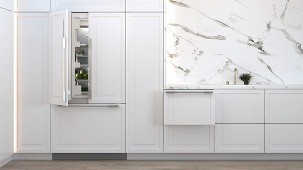 An Integrated French Door Refrigerator and DishDrawer™ Dishwasher in a White Panelled Kitchen.